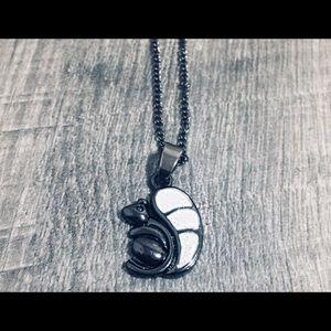 White Fire Opal Black Pendant Squirrel 🐿 Necklace